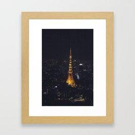 Tokyo Tower at Night Framed Art Print