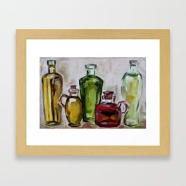 Still life, oil bottles, art, original painting Framed Art Print