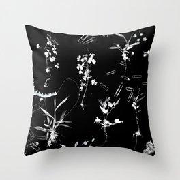 Plants & Paper clips Photogram Throw Pillow