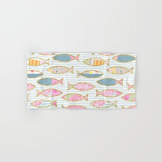 Fancy Fish pastel patchwork pattern Hand & Bath Towel
