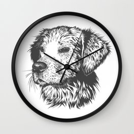 Puppy Pencil Drawing Wall Clock