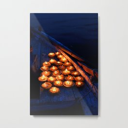Candles on the Ganges Metal Print