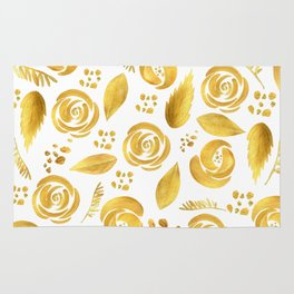 Hand painted faux gold white elegant floral pattern Rug