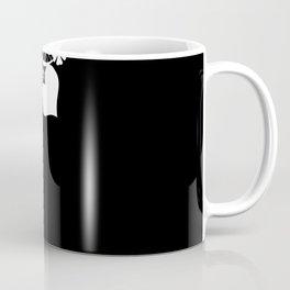 Retro . White lace on a black background . Coffee Mug