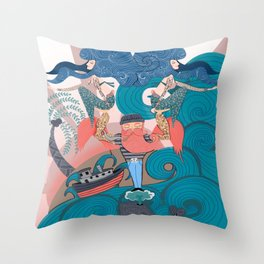 Nautical Strong Man and Sirens of the Sea Throw Pillow