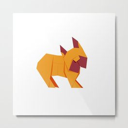 Origami French Bulldog Metal Print