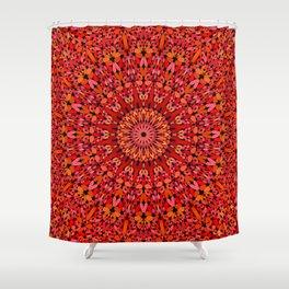 Red Geometric Bloom Mandala Shower Curtain