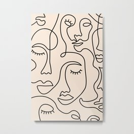 Abstract Single Line Face  Metal Print