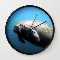 manatee Wall Clocks featuring Manatee by ZenzPhotography