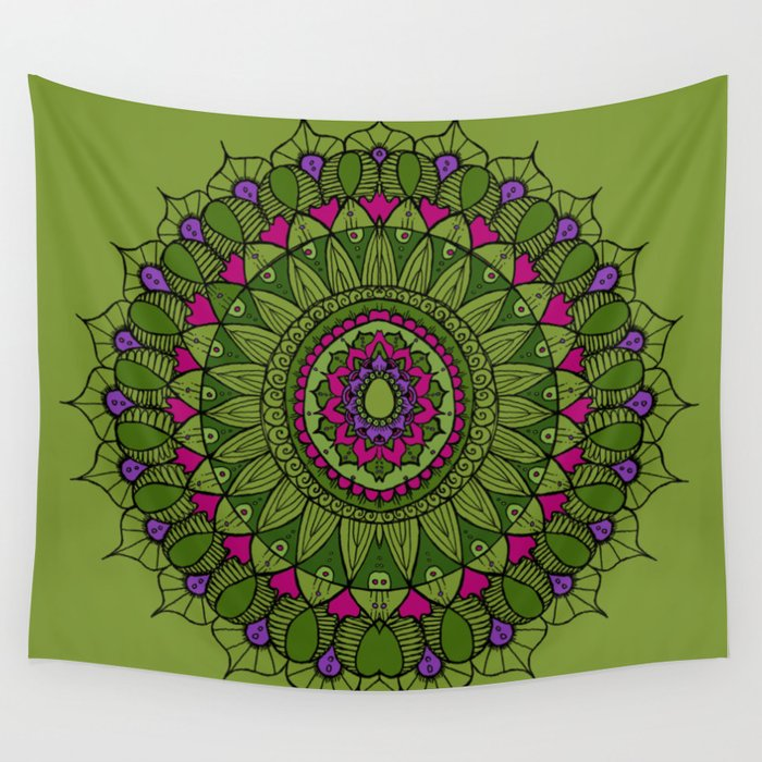 Bohemian Mandala in Green with Pink and Purple Wall Tapestry