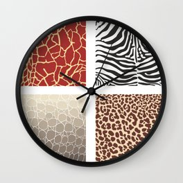 Africa - background with text and texture wild animal Wall Clock