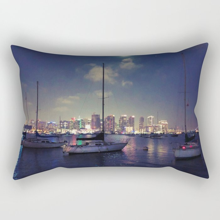 San Diego by Night - Oil Rectangular Pillow