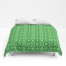 Moroccan Tile, Emerald and Pastel Green Comforters