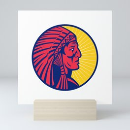 Old Native American Chief Headdress Circle Mini Art Print