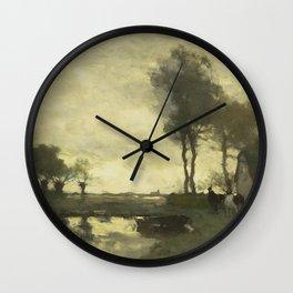 Johan Hendrik Weissenbruch - Landschap met boerderij bij een plas Wall Clock