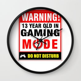 13th Birthday Gamer Boys Girls PC Gaming Wall Clock