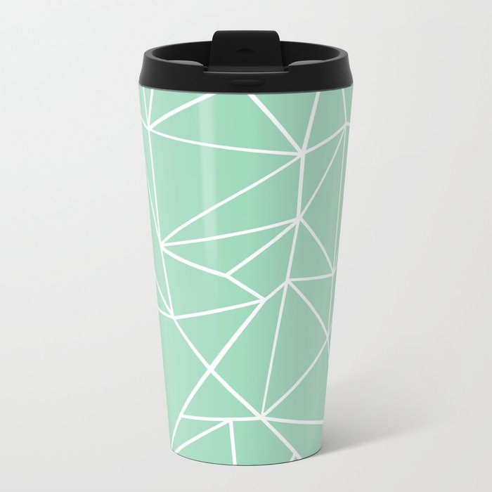 Abstract Heart Mint Metal Travel Mug