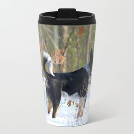A dog's winter walk Travel Mug