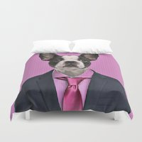 french bulldog Duvet Covers featuring French bulldog by Life on White Creative