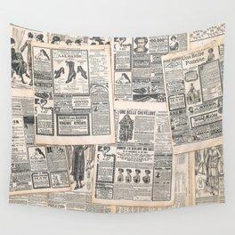 Newspaper pages with antique advertisement. Woman's fashion magazine Le Petit Echo de la Mode Wall Tapestry