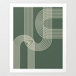Minimalist Lines in Forest Green Art Print