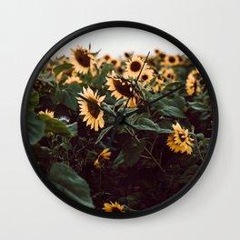 Sunflower field III Wall Clock