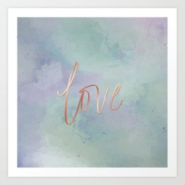 Your Love Is Gold - Blue & Green Watercolour Art Print