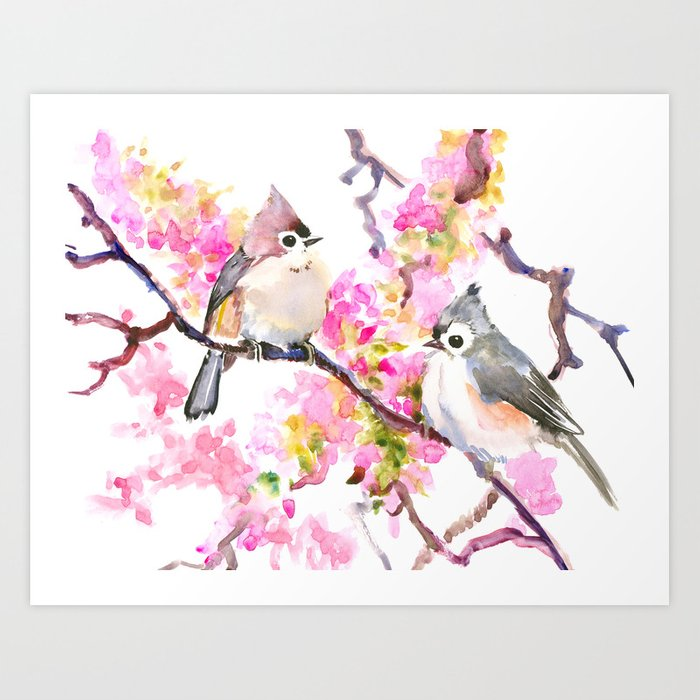 Titmice And Cherry Blossom Spring Bird Cottage Style Pink Gray Design Art Print By Sureart Society6