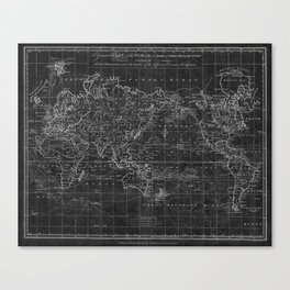 Black and White World Map (1799) Inverse Canvas Print