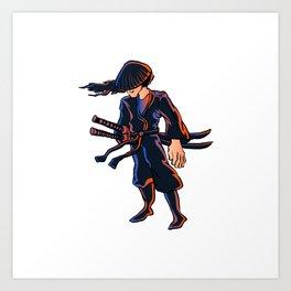 Illustration of ninja Art Print