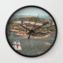 Vintage Pictorial Map of Fort Monroe Virginia Wall Clock