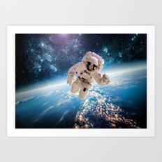 Astronaut having fun Art Print