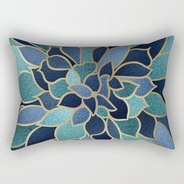 Festive, Floral Prints, Navy Blue, Teal and Gold Rectangular Pillow