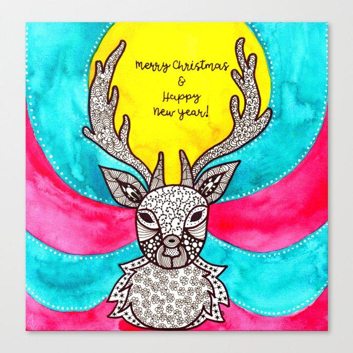 Watercolor Art | Christmas Reindeer Canvas Print