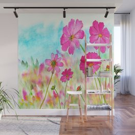 Symphony In Pink, Watercolor Wildflowers Wall Mural