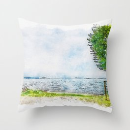 Aquarelle sketch art. Beautiful blue lake and lonely tree Tuscany, Italy Throw Pillow