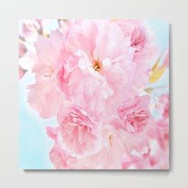 Soft Blue Sky with Pink Peonies Metal Print