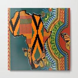 African Dashiki Butterfly Metal Print
