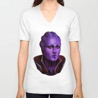 mass effect V-neck T-shirts featuring Mass Effect: Aria T'Loak by Ruthie Hammerschlag