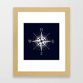 Navy Nautical - White Compass Framed Art Print