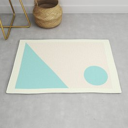 Lines and Shapes in Light Pink and Aqua Blue Rug