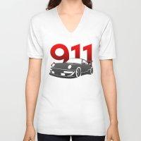 porsche V-neck T-shirts featuring Porsche 911 by Vehicle