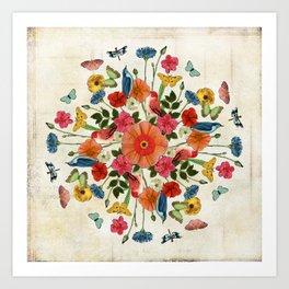 Flower and Bird Collage on White Art Print