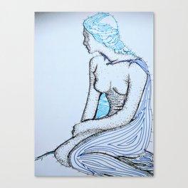Brown woman with blue hair Canvas Print