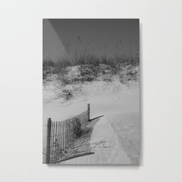 Buried Fence (Black and White) Metal Print