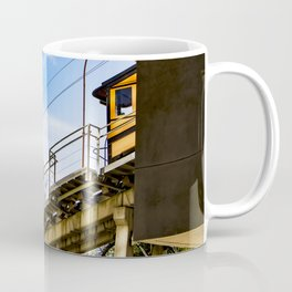 Orange Trolley Starting to Come down the Track in Downtown Los Angeles Coffee Mug