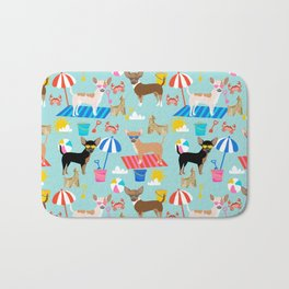Miniature Doberman Pinscher dog beach day summer fun dog lover min pin Bath Mat