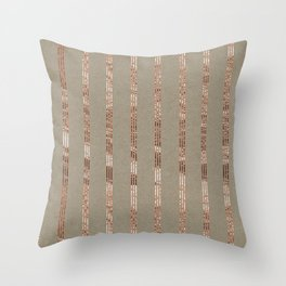 Rose gold stripes on natural grain Throw Pillow