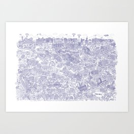 Illustrated map of Berlin-Mitte. Ink pen design Art Print