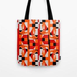 Geometric Dancing Foxes Tote Bag